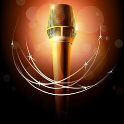 Golden Microphone Microphone Stage Background